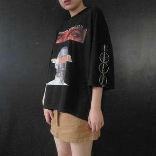 🚚 (免運)鐵環黑色圖樣oversize上衣T恤