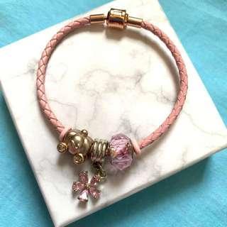 925純銀南瓜車+粉紅水晶吊飾手繩(連盒)