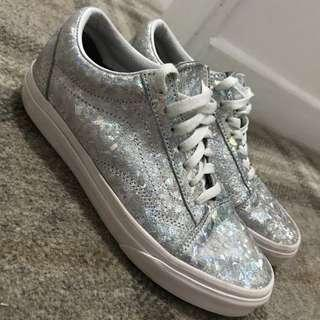 Vans old skool Womens holographic silver Size 5 Uk/ 38