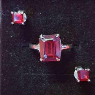 Genuine Garnet Ring and Earrings Silver dipped in White Gold
