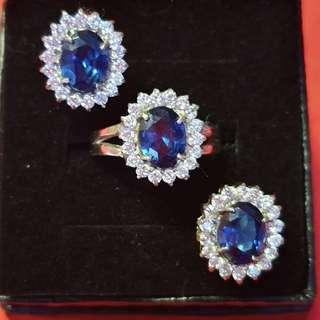 Blue Sapphire Jewelry set silver dipped in white gold