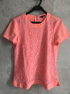 WAREHOUSE Orange lace top (uk10)