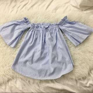 pinstripe off shoulder baby doll top
