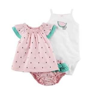 BN Carters Baby Girl Watermelon 3 Piece Blouse Romper Shorts Set 18mths!