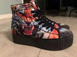 Jeffrey Campbell Platform Flatform Tiger Sneakers Hi Top