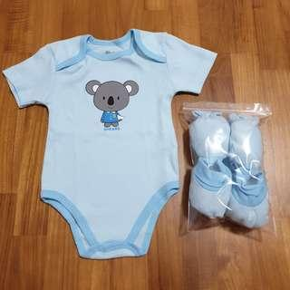 🚚 [0-6 Months Baby] Shears Blue Color Baby / Infant Bodysuit / Baby Romper, Baby Mittens, Baby Booties / Socks & Wash Cloth