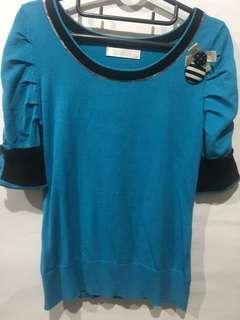 🚚 KiKi 藍色針織上衣