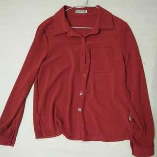 Dark Red Formal Blouse