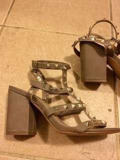 Spurr studded block heels size 7