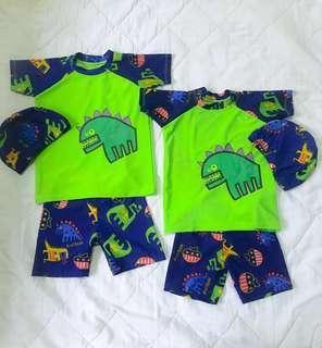 Baju Renang Dinosaurus Import  (3 in 1) topi+baju+celana