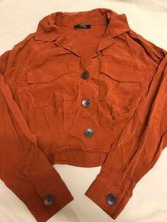 Bershka深橙色vintage歐美短身襯衫