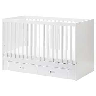 Price reduced! White Stuva cot with Drawers