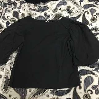 Plain black top with bubble sleeve