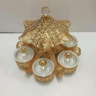 6s candy dish w/gold rack