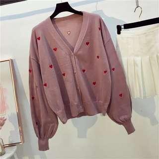 粉色愛心針織外套