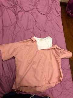 korean style Pink Off Shoulder Top
