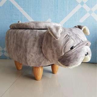 Cute BullDog Animal Children Stool with Storage