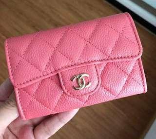 👍👍👍保證全新正品Chanel粉色香檳金logo菱格紋荔枝牛皮 卡包 零錢包
