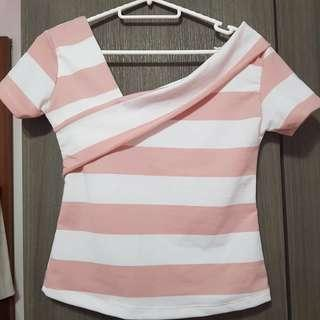 Pink and White stripe Off Shoulder Top