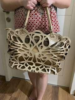PRETTY FIT Laser Cut Nude Hand Bag