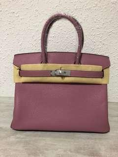 Hand Sewn Purple Leather Bag