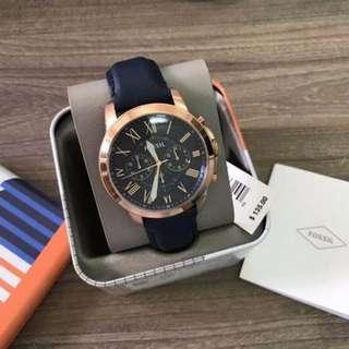 💥SPECIAL DEALS💥Fossil Grant Chronograph Navy Leather Watch