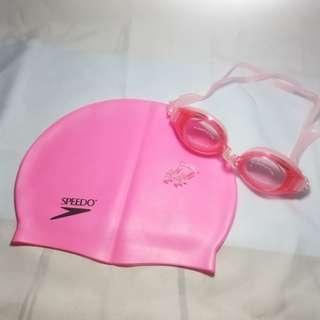 Paket Kacamata Renang dan Topi Renang Anti Fog