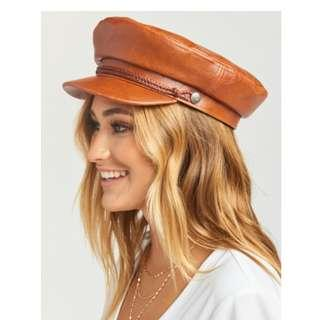 Brixton Fiddler Cap in Brown Leather - New W/ Tags