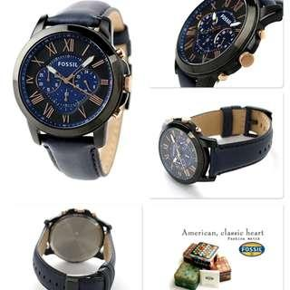 💥SPECIAL DEALS💥Fossil Grant Analog Men's Blue Leather Strap Watch