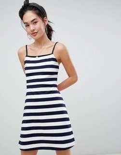 🚚 asos design mini square neck sundress in stripe