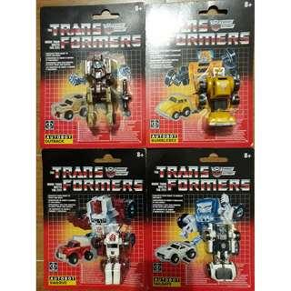 (Clearance Sale) MOSC Authentic Transformers G1 Bumblebee, Outback, Swerve and Tailgate Reissue Australian Version vintage rare limited hard to find