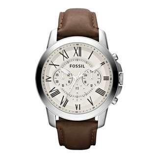 Fossil Men's Grant Chronograph Brown Leather Strap Watch