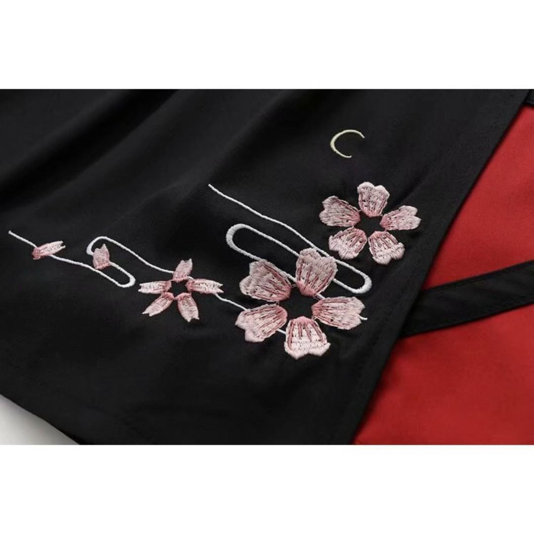 🌸2 PCS CUTE SAKURA FESTIVAL THEMED COSPLAY WOMEN FASHION SAKURA EMBROIDERY SKIRT AND TOP SHIRT🌸