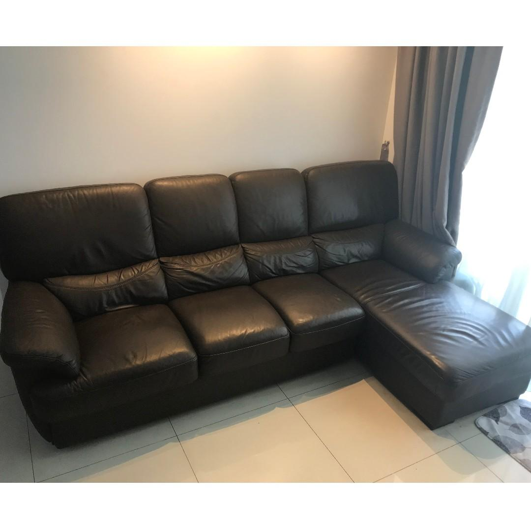 4 Seater L-Shaped Leather Sofa, Furniture, Sofas on Carousell