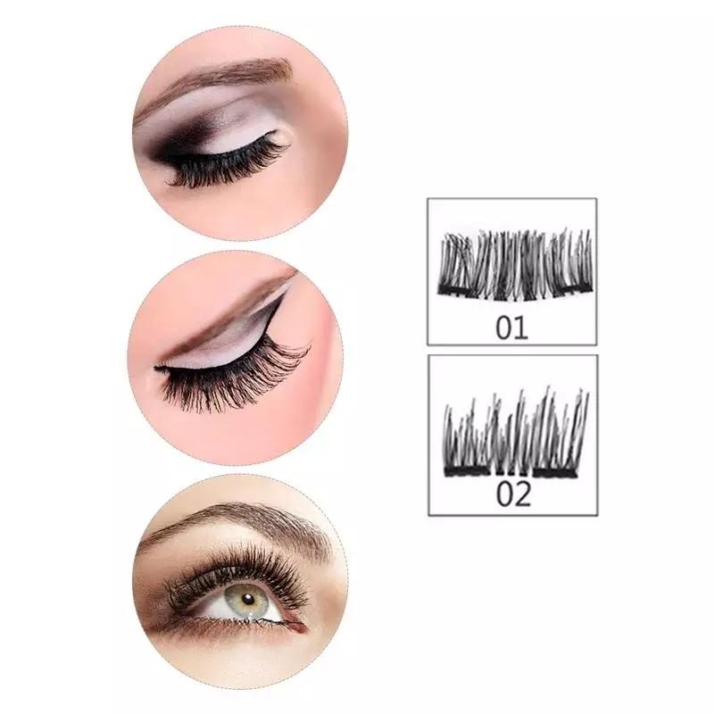 8pcs Magnetic eyelashes with 3 magnets handmade 3D magnetic lashes