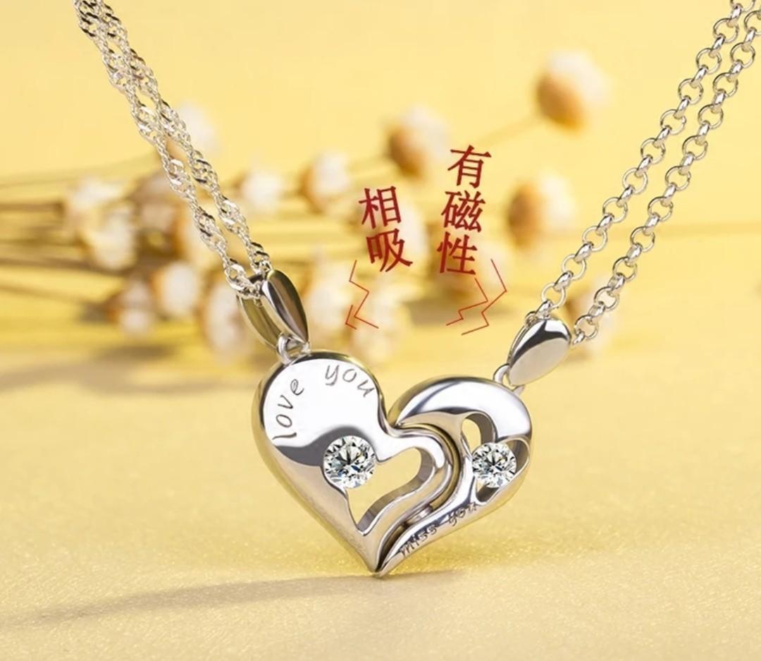 情侣项链一对学生简约文艺礼物925纯银饰品爱心吊坠韩版闺蜜刻字