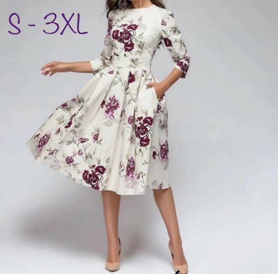 加加大碼女裝 收腰3分袖A字連身裙 Vintage Floral A-line Elegant One Piece Dress Plus Size