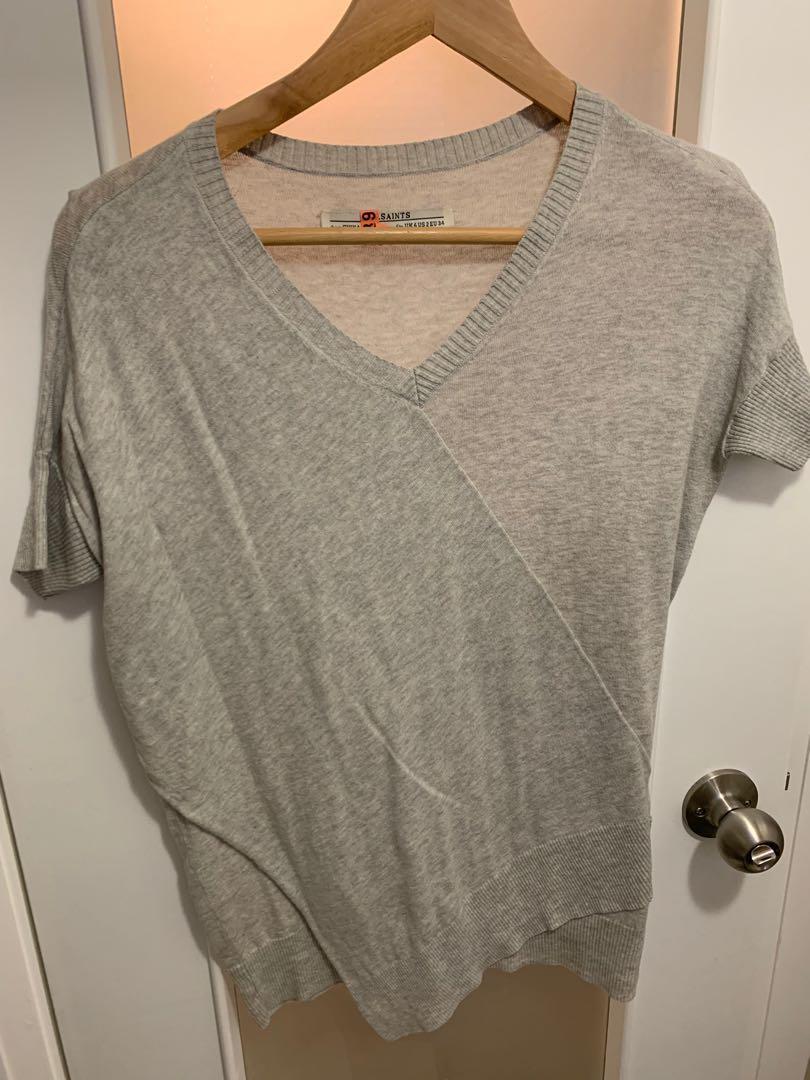 AllSaints Asymmetrical Sweater - Short Sleeve with Cool Hem, US2/XS