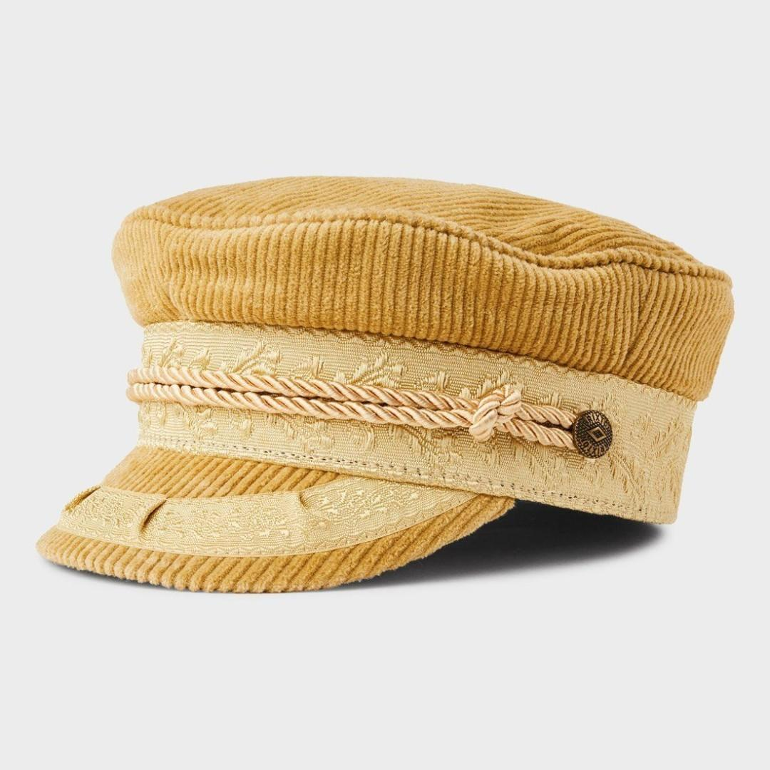 Brixton Albany Mustard Corduroy Baker Boy Cap - New W/ Tags