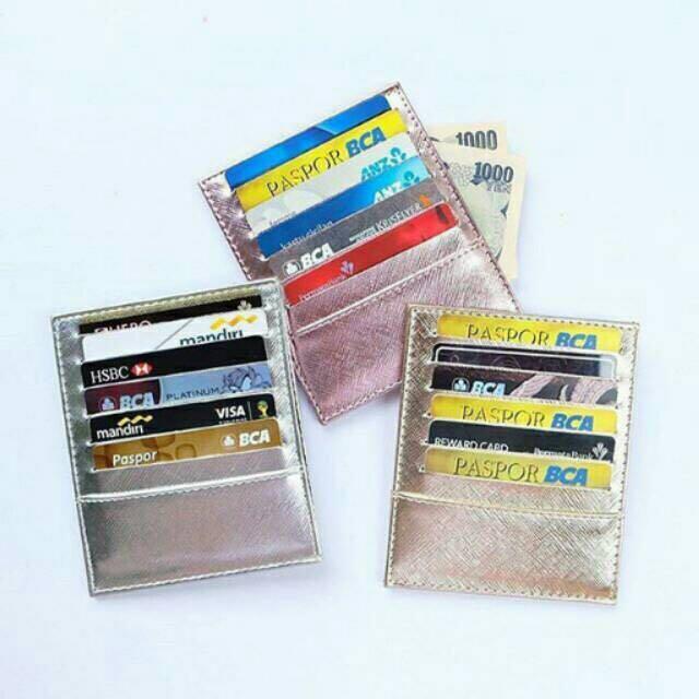 Card Holder 12 Slot Metalic Rose Gold / tempat kartu rosegold dompet