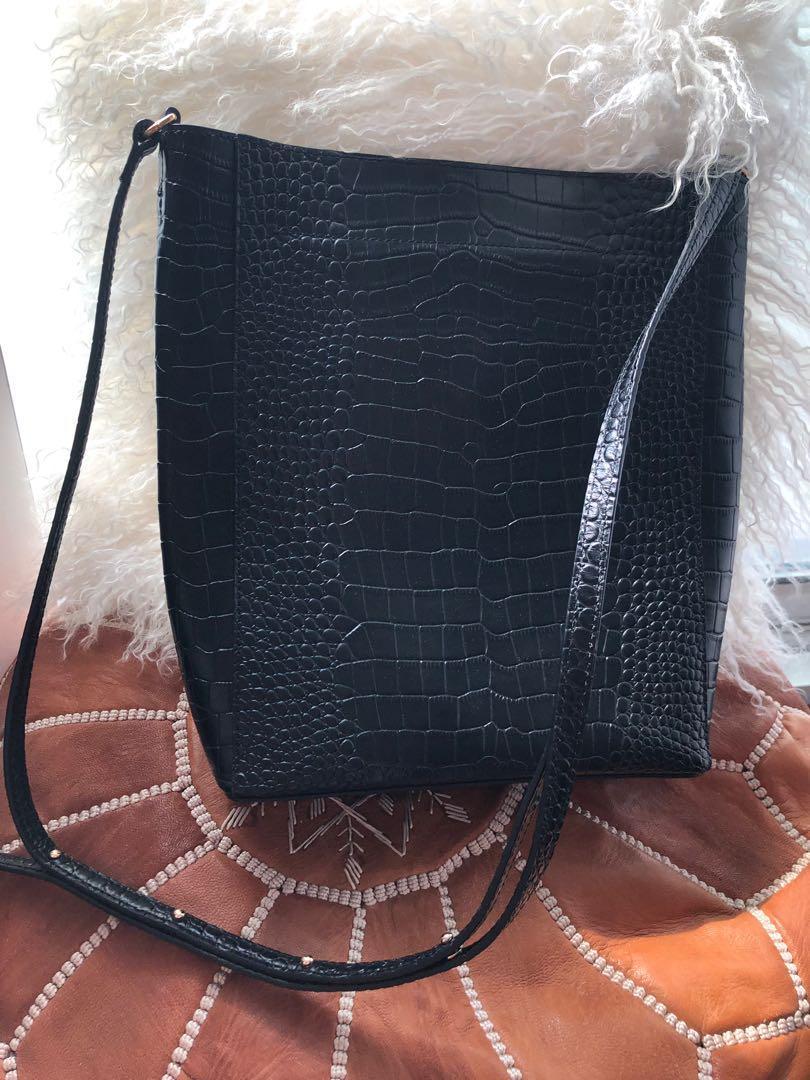 crocodile pattern black crossbody leather bag very new, only worn a few times