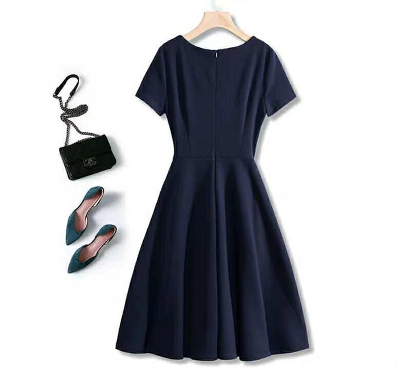 深藍連衣裙連身裙deep blue one piece dress knee length 女夏黑色法式復古小清新裙子赫本風別緻溫柔仙女裙