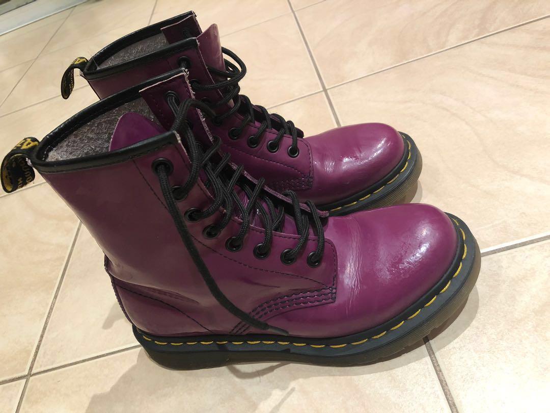 doc martens glossy purple