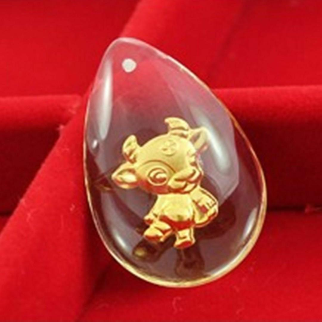 Fine 24K 999.9 Yellow Gold &Crystal Pendant Man Woman's Lucky Chinese Cartoon Zodiac - Blessing - Whole Set of 12s - Free Postage