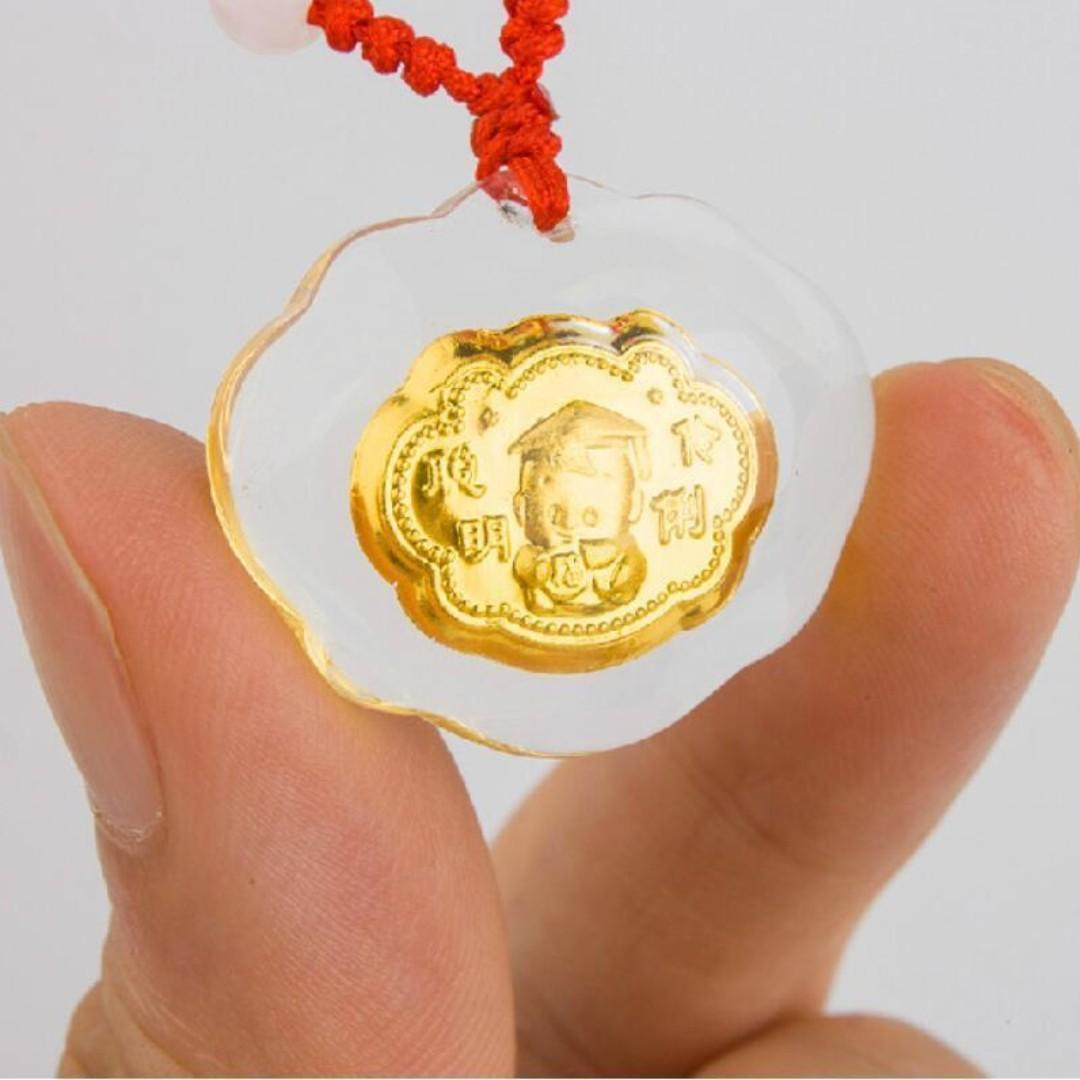 Hot Sale Fine 24K Yellow Gold & Crystal Pendant 999.9 - Baby Study Hard - Smart Kid - 888 Heng - Free Postage