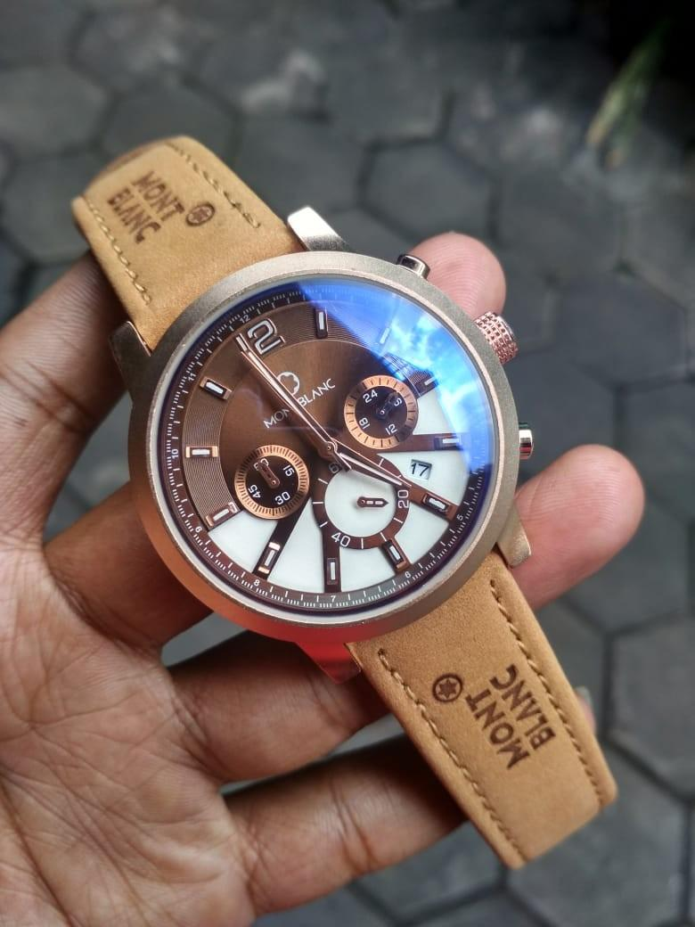 Jam tangan montblanc tactical leather