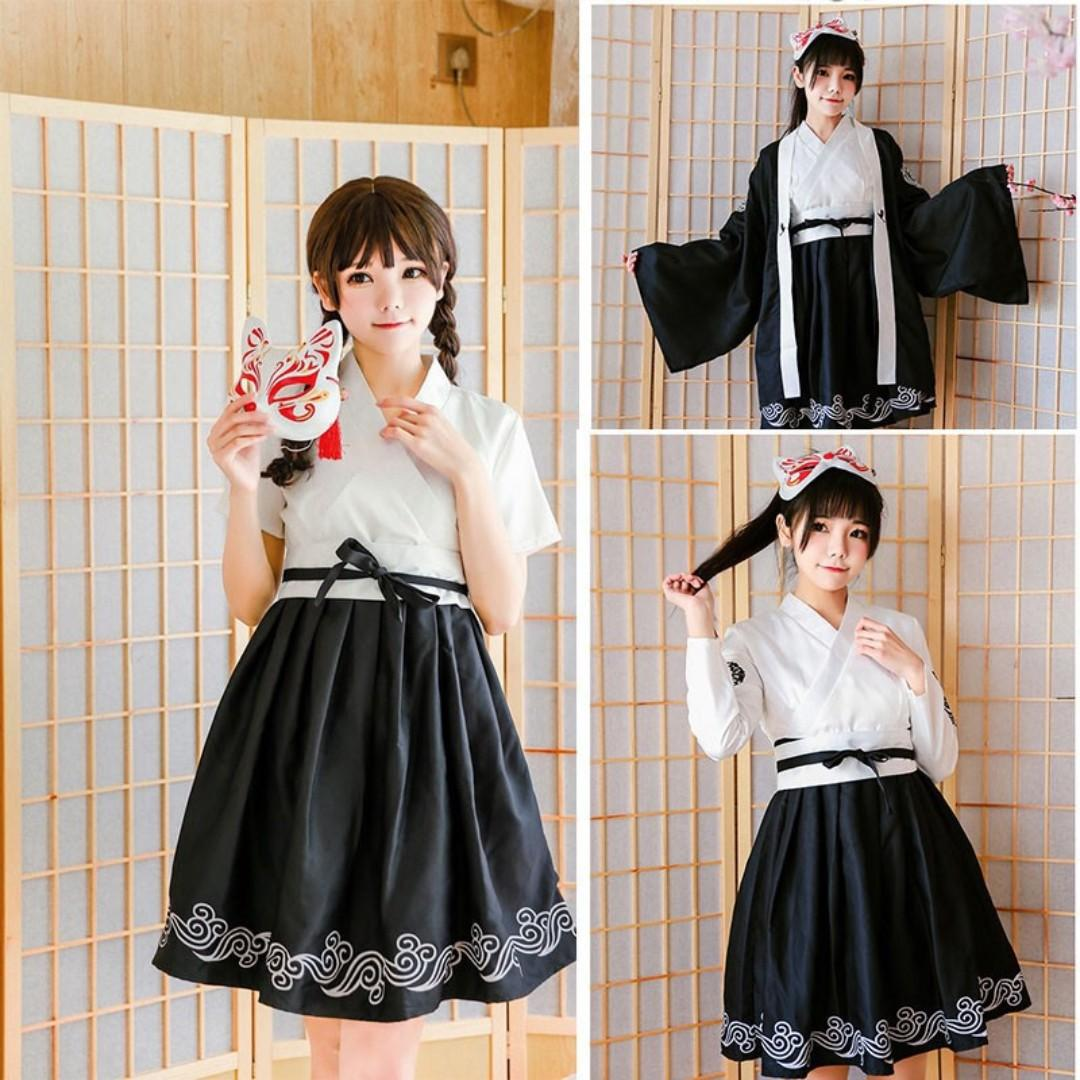 🌊JAPANESE YUKATA STYLE LOLITA COSPLAY WOMEN FASHION LONG SLEEVED DRESS🌊
