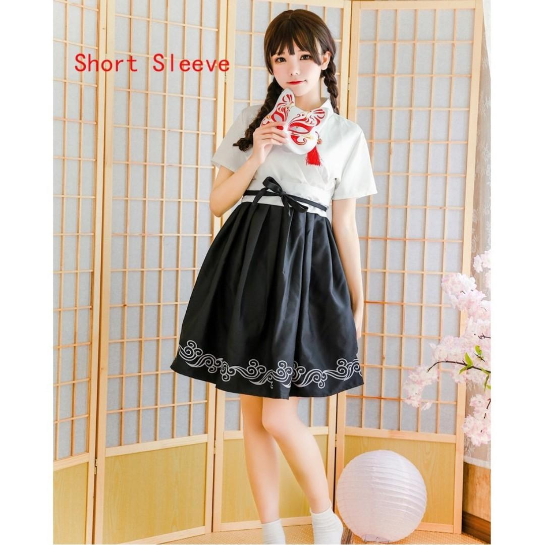 🌊JAPANESE YUKATA STYLE LOLITA COSPLAY WOMEN FASHION SHORT SLEEVED DRESS🌊