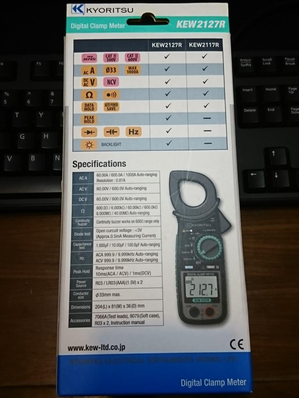 "KYORITSU KEW 2017R Digital Clamp Meter (TRUE RMS) 日本""共立"" (真均方根值)""真有效值"" 萬用鉗錶 讀出真正的電流 全新未用過"