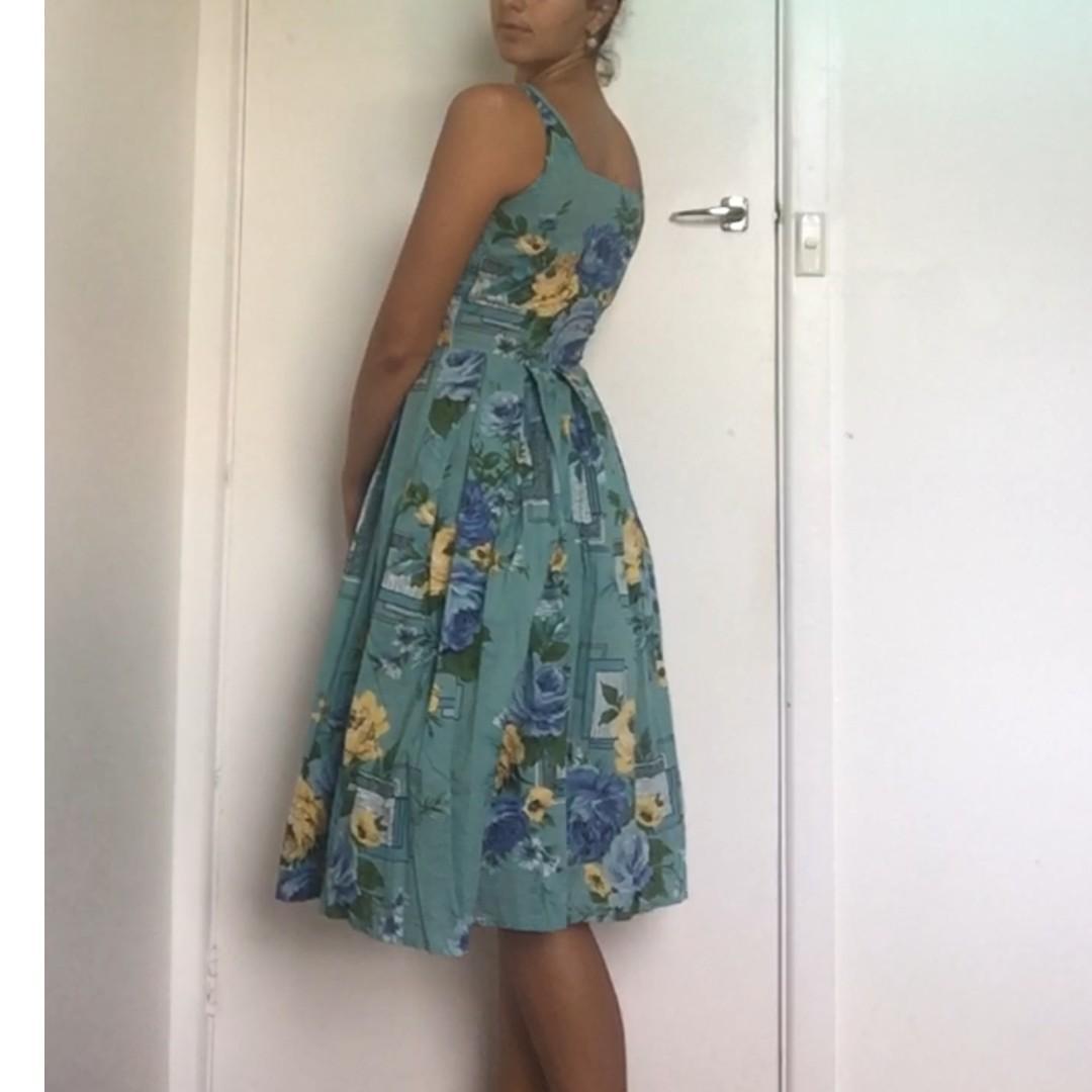 Lazy Bones designer Linen Vintage Style Floral print dress